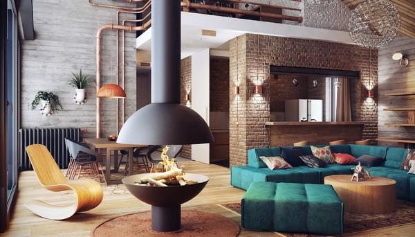 Гостиная в индустриальном стиле фото