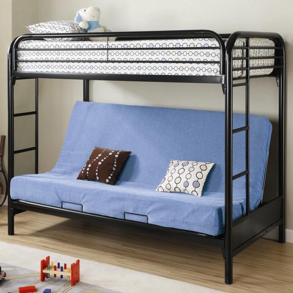 Металлическая двухъярусная кровать с диваном внизу