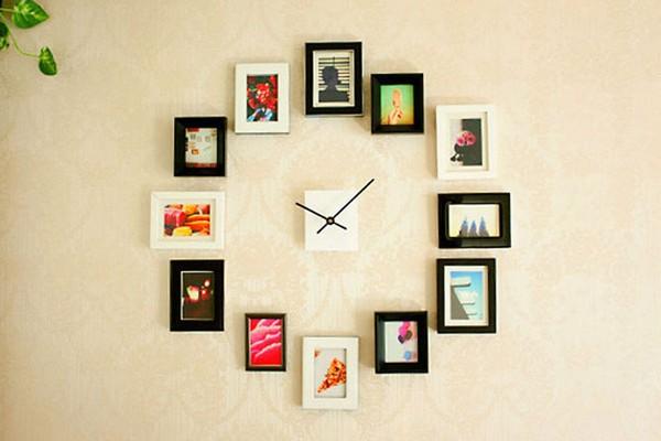 Идея из фоторамок для настенных часов