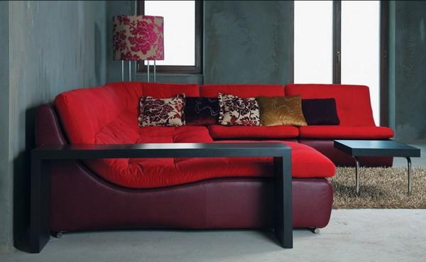 Угловой красный диван модульный фото
