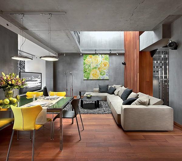 Современный интерьер гостиной в стиле конструктивизм фото