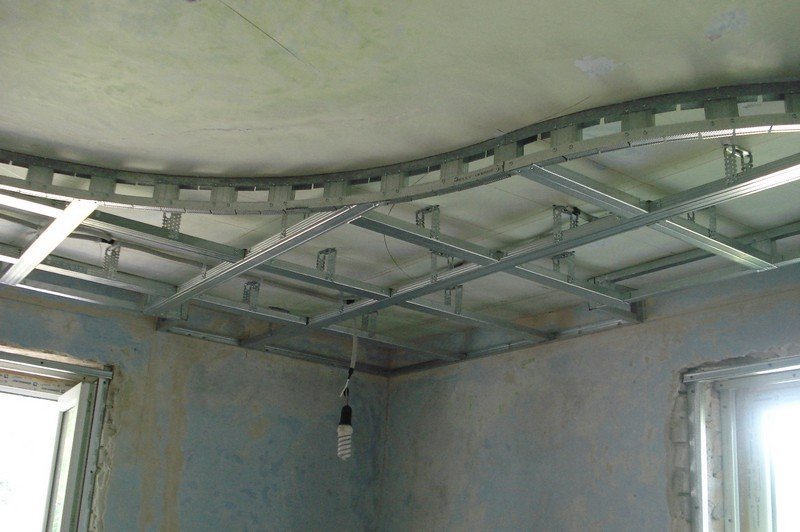 монтаж многоуровневого потолка из гипсокартона своими руками фото