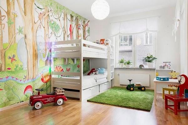 Детская с двухъярусной кроватью в скандинавском стиле