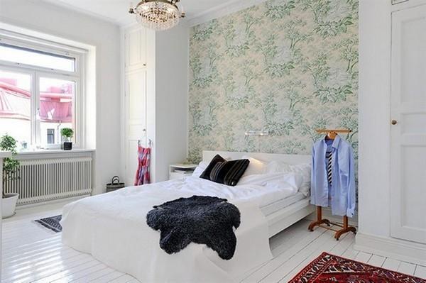 Акцентная стена в интерьере скандинавской спальни