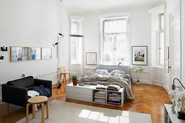Паркет для спальни в скандинавском стиле фото