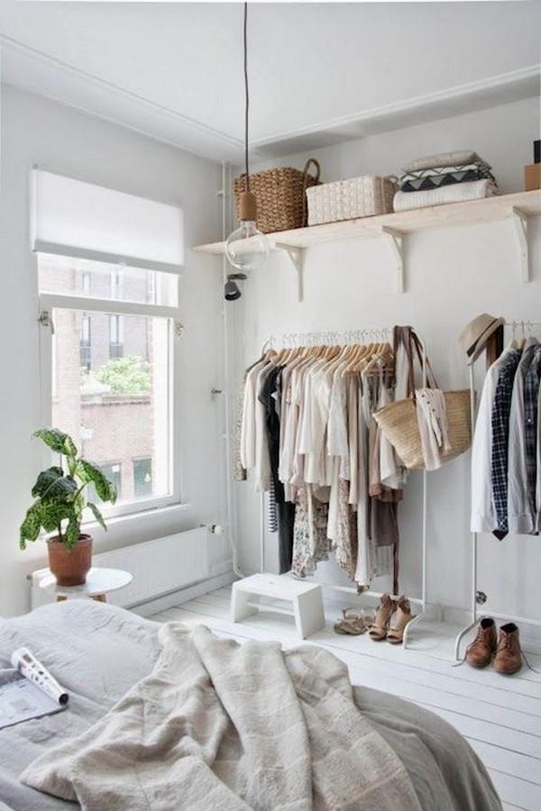 Открытые гардеробные держатели для скандинавского интерьера