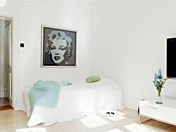 Романтический дизайн спальни в скандинавском стиле