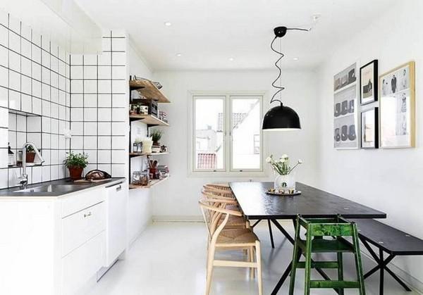 Белоснежный интерьер кухни в скандинавском стиле