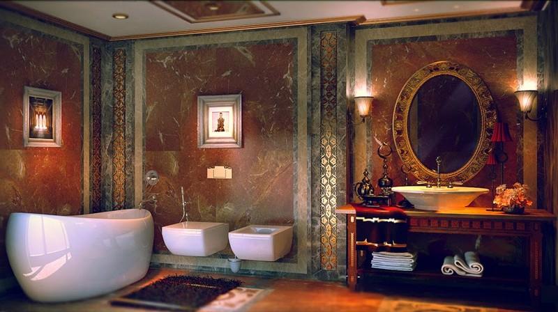 Освещение ванной комнаты в викторианском стиле