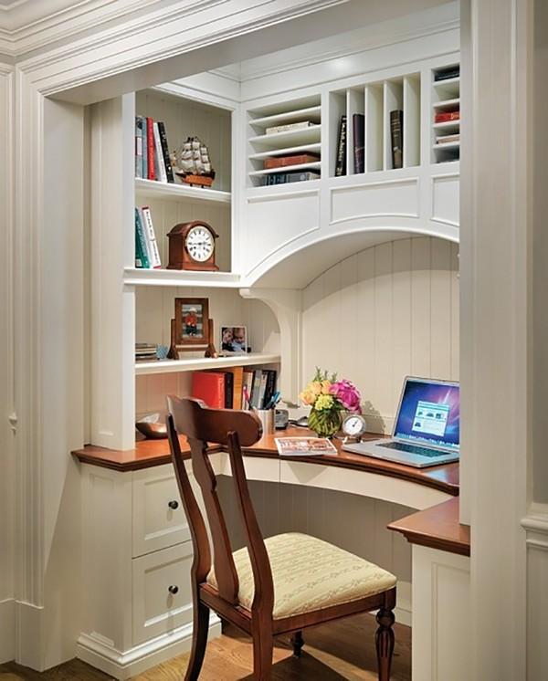 Дизайн комнаты стол в нише