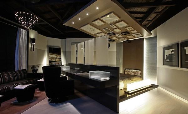 Современная спальня-кабинет с перегородкой фото