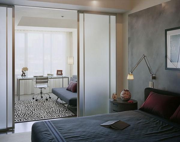 Дизайн спальни и рабочего кабинета в одной комнате фото
