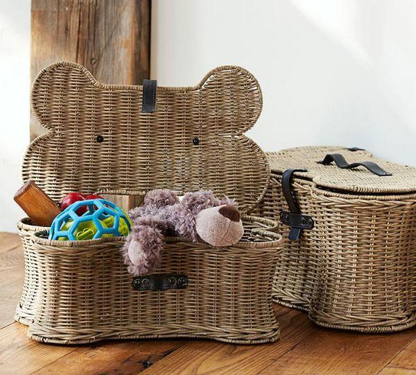 Плетеные корзины для игрушек фото