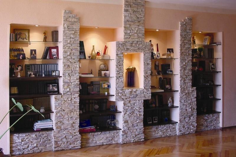 отделка стен декоративным камнем фото