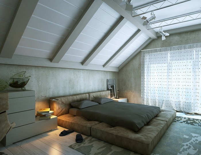 Интерьер спальни на мансардном этаже фото